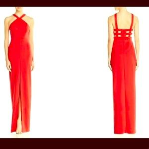 Aidan Mattox Red Gown with cutouts